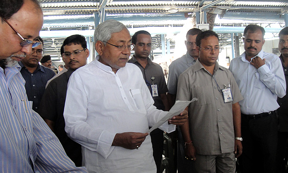Bihar Chief Minister Nitish Kumar listens to public grievances at the Janata Darbar in Patna