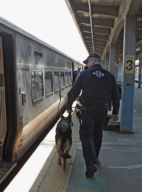 A police officer with his K-9 companion keeps guard as a Long Island Rail Road train from New York City arrives at the station on April 15, 2013 in Hicksville