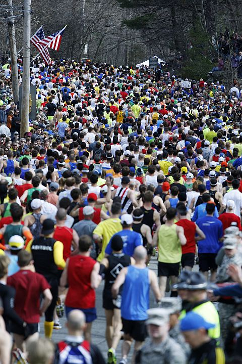 The first wave of runners starts the 117th running of the Boston Marathon in Hopkinton, Massachusetts