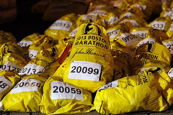 Unclaimed runner's bags from the Boston Marathon are seen in Boston