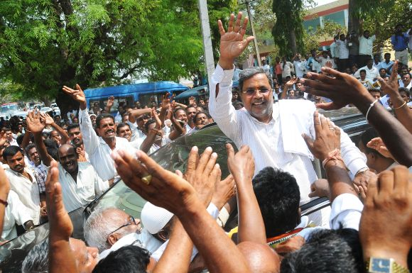 Congress leader Siddharamaiah campaigns in Varuna