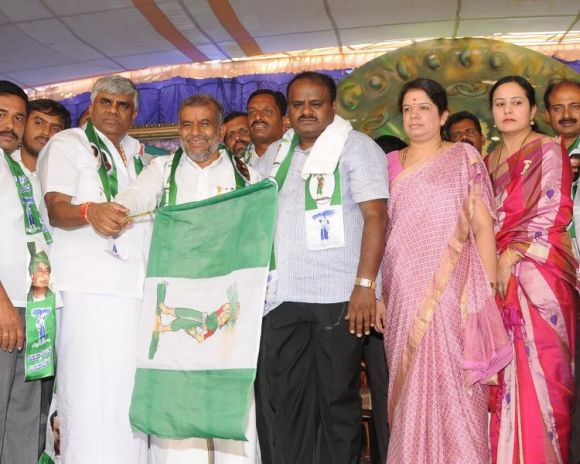Former chief minister H D Kumaraswamy and his wife Anita at an event