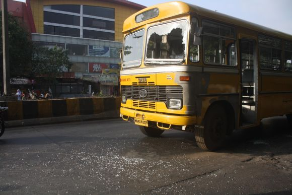 Another damaged private bus seen in bandh-hit Thane