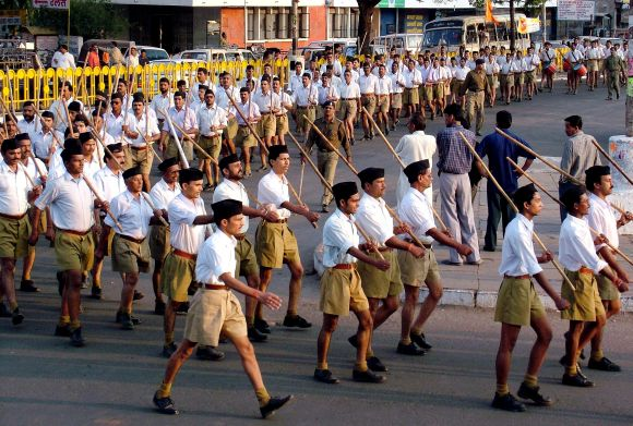 Members of Rashtriya Swayamsevak Sangh take part in annual marching procession in Bhopal.