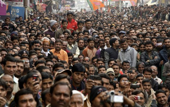 Supporters at a BJP election campaign rally in Allahabad