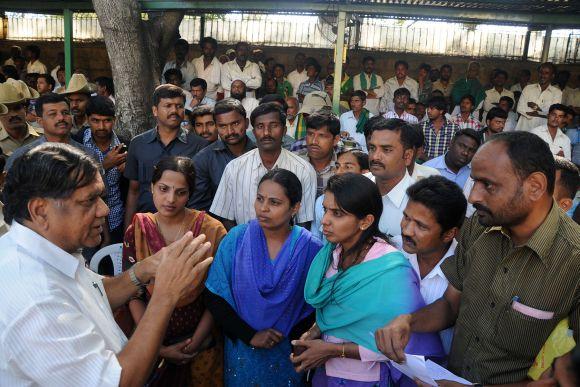 Karnataka Chief Minister Jagadish Shettar hearing public grievances at the Home office in Bangalore