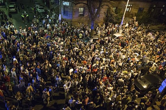 PICS: Jubilant Bostonians celebrate after suspect's arrest