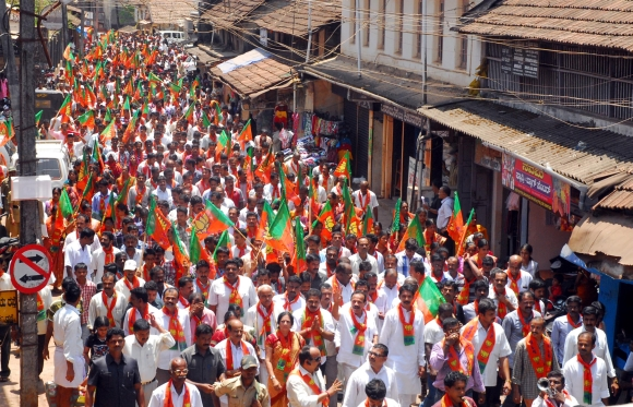 A BJP rally in Puttur near Mangalore