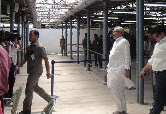 Nitish Kumar at his Janata Darbar in Patna.