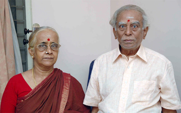 A file photograph of Lalgudi Jayaraman with his wife