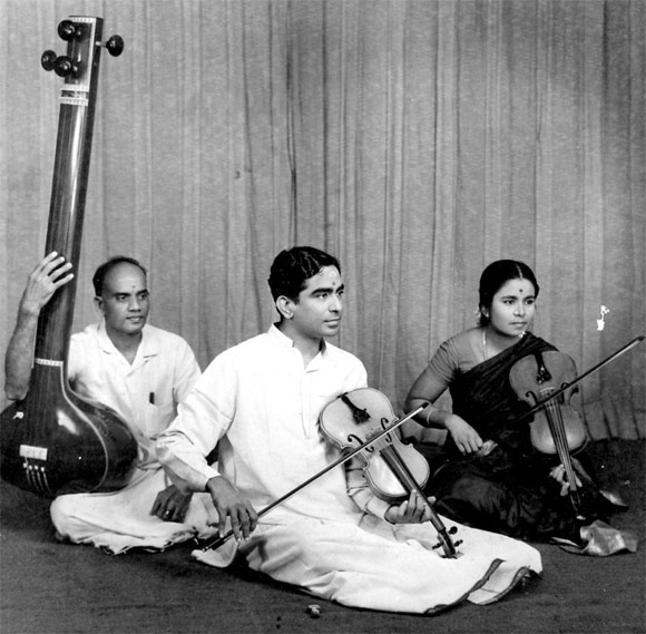 A photograph from the early 1960s, of Lalgudi Jayaraman giving a solo concert