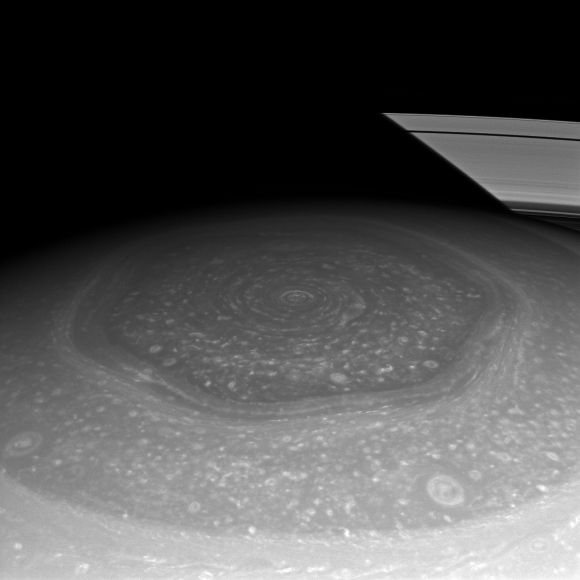 Saturn's north polar hexagon basks in the sun's light now that spring has come to the northern hemisphere.