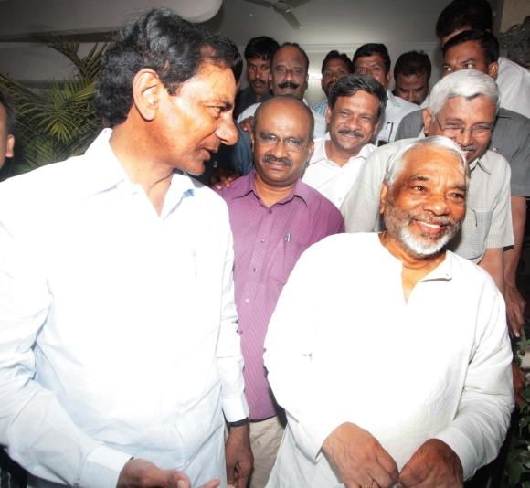TRS chief K Chandrasekhara Rao with party general secretary Keshav Rao