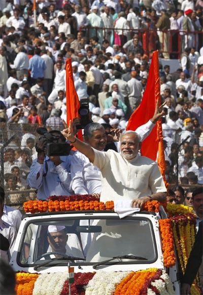 Narendra Modi after taking oath as Gujarat's chief minister in Ahmedabad, December 26, 2012.