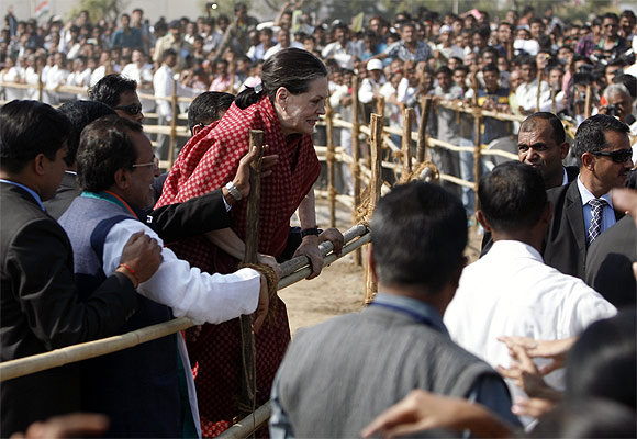 Congress President Sonia Gandhi at a campaign rally in Gujarat in 2012.