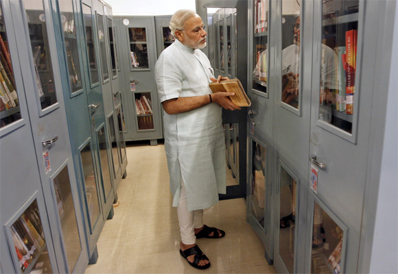 Narendra Modi in his library inside his home.