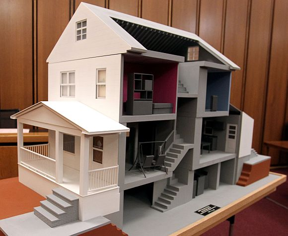 A model of the home of Ariel Castro is displayed in the court room during the sentencing