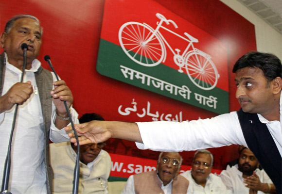 Akhilesh Yadav with his dad, Samajwadi Part President Mulayam Singh Yadav.