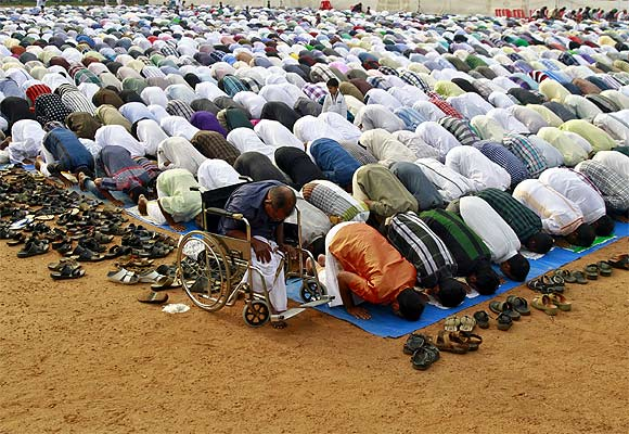 Muslims offer prayers in Kochi, Kerala.