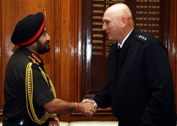 Indian Army Chief General Bikram Singh greets his US counterpart General Odierno during the latter's visit to India