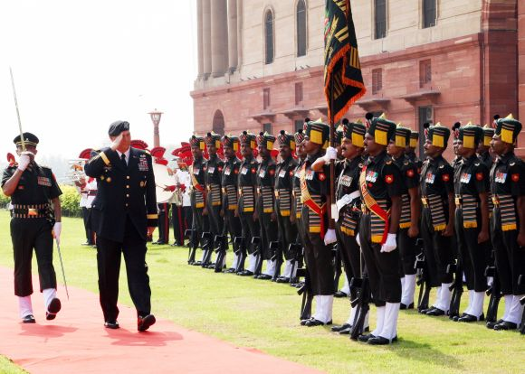 US Army Chief General Raymond Odierno inspecting a guard of honour at South Block in New Delhi