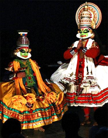 Kathakali dancers in Tripunithura, Kerala.