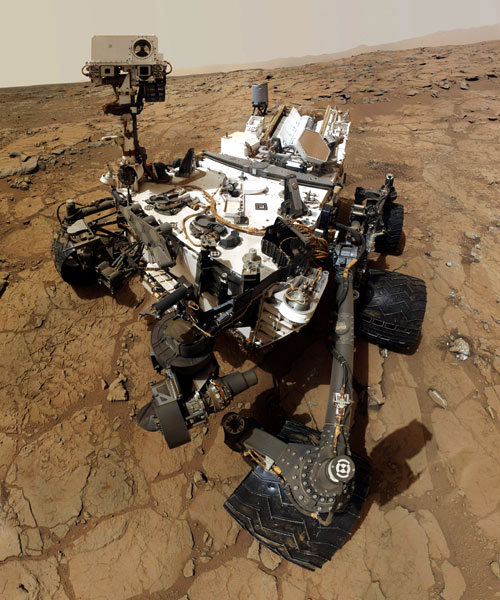 NASA's Mars rover Curiosity's self-portrait. The image was made by combining dozens of exposures taken by the rover's Mars Hand Lens Imager (MAHLI). The rover is positioned at a patch of flat outcrop called John Klein, which was selected as the site for the first rock-drilling activities by Curiosity.