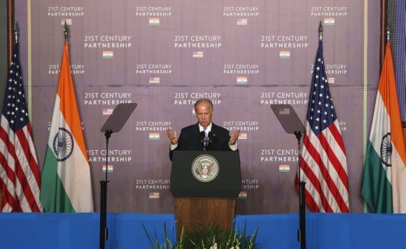 US Vice President Joe Biden delivers an address at the Bombay Stock Exchange in Mumbai