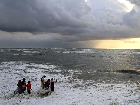 Fort Kochi beach as clouds hover over the Arabian Sea.