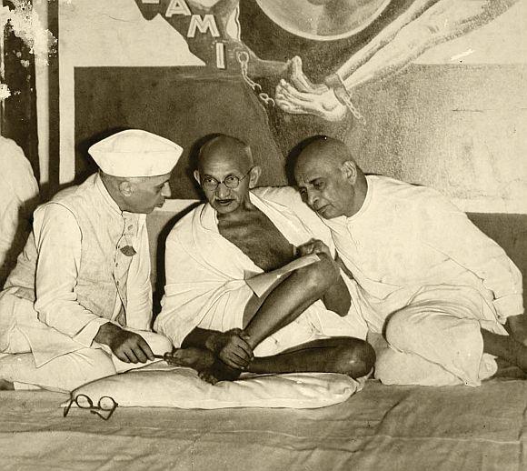 Patel with Jawaharlal Nehru and Mahatma Gandhi
