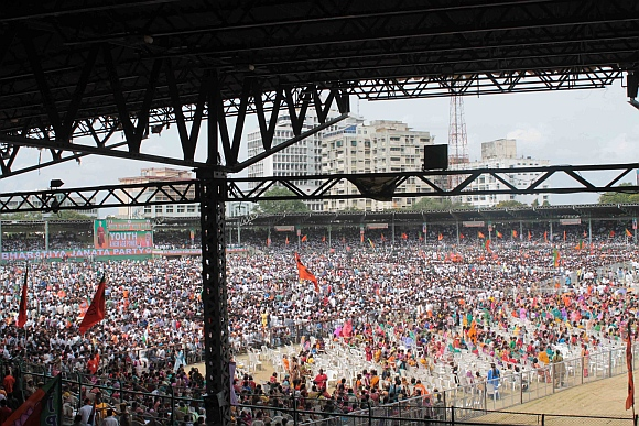 The large crowd at the Lal Bahadur stadium in Hyderabad