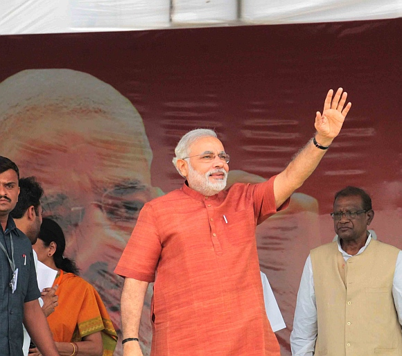 Gujarat Chief Minister Narendra Modi at Hyderabad's Lal Bahadur Shastri stadium