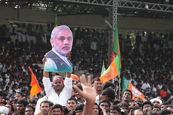 Modi supporters at Hyderabad's Lal Bahadur Shastri stadium