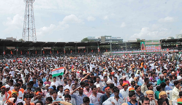 The huge crowd at the Lal Bahaduur Shastri stadium in Hyderabad