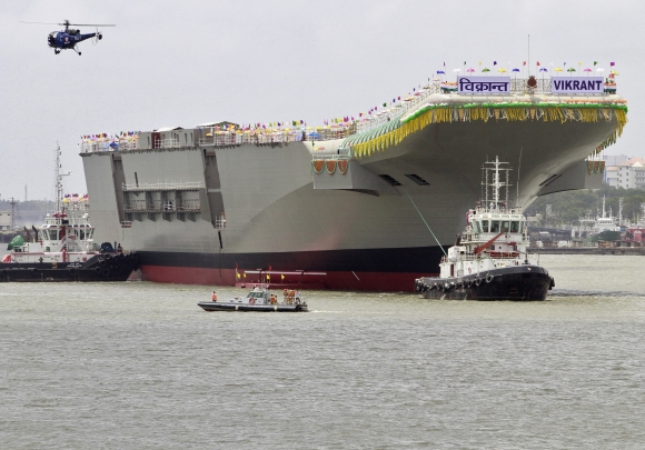 India's indigenous aircraft carrier Vikrant after its launch in Kochi