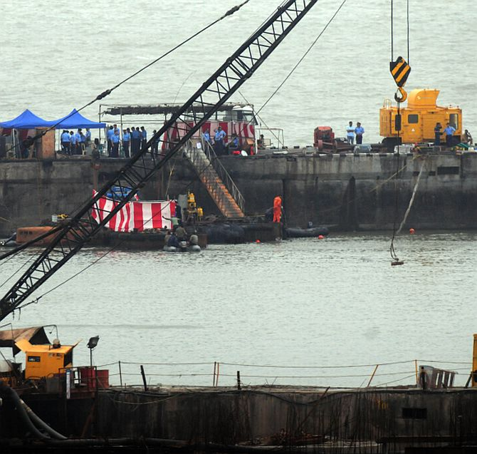 Salvage operations going on at the dockyard