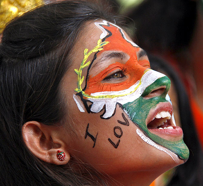 A girl celebrates Independence Day in Chandigarh.