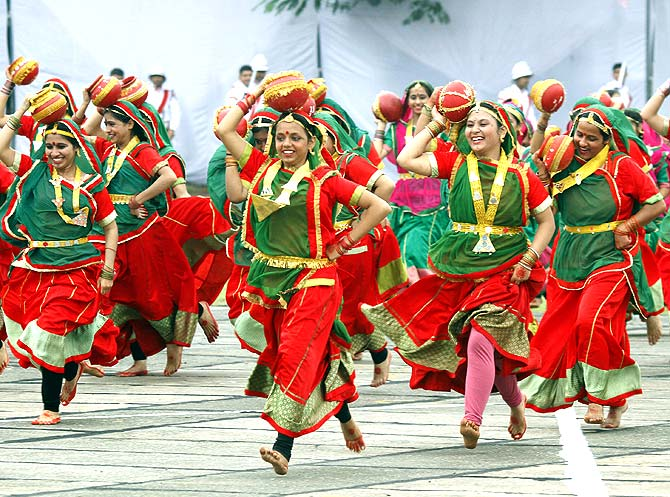 A folk dance during the Independence Day celebration in Chandigarh