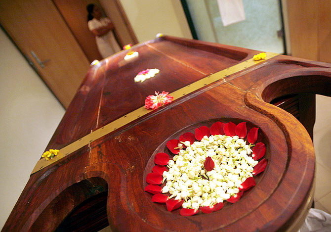 A massage table in an Ayurvedic massage room at the Taj Wellington Mews in Mumbai.
