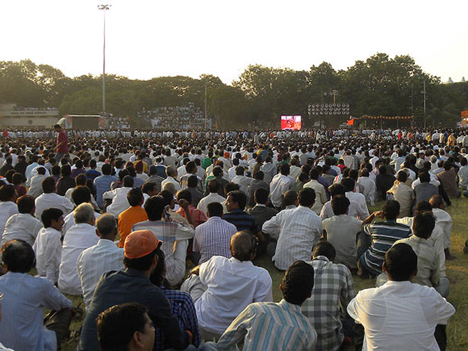 The cremation of Bal Thackeray at Shivaji Park