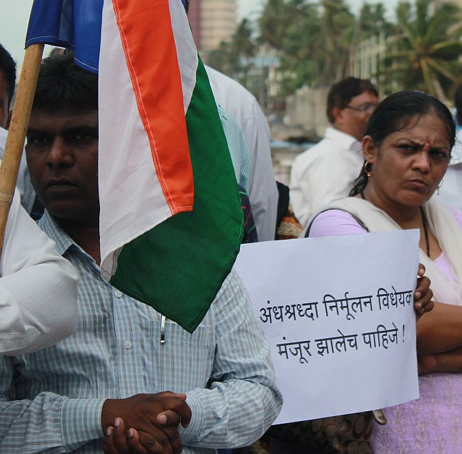 Protestors at Shivaji Mandir in Dadar