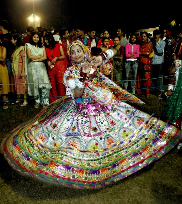 Everyone turns up to dance the Garba during the nine nights of Navratri.