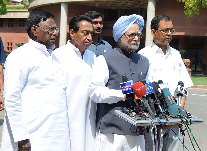 Prime Minister Manmohan Singh addresses media persons outside Parliament