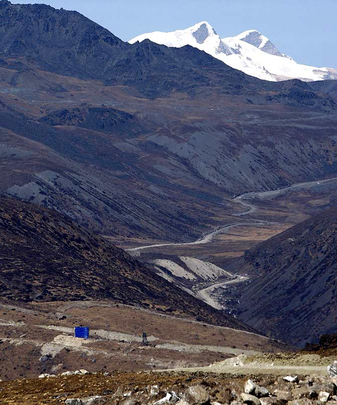 A view of the last Chinese army post as seen from the Indian side at the India-China border in Bumla, Arunachal Pradesh, November 2009.