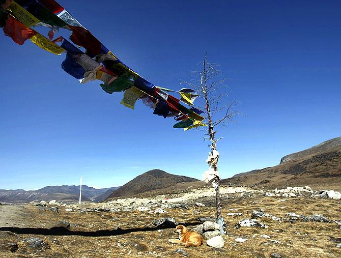 The India-China border at Bumla, Arunachal Pradesh, November 2009.
