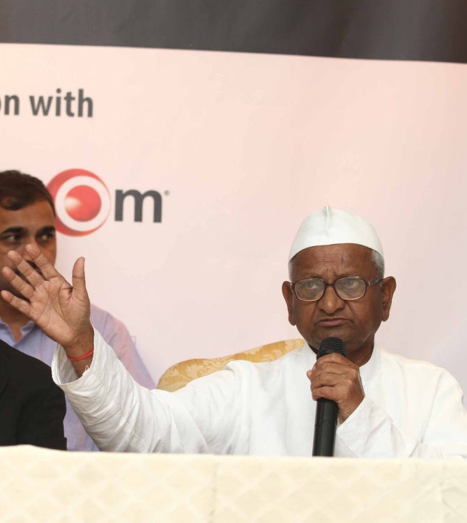 Anna Hazare at a press conference in New York