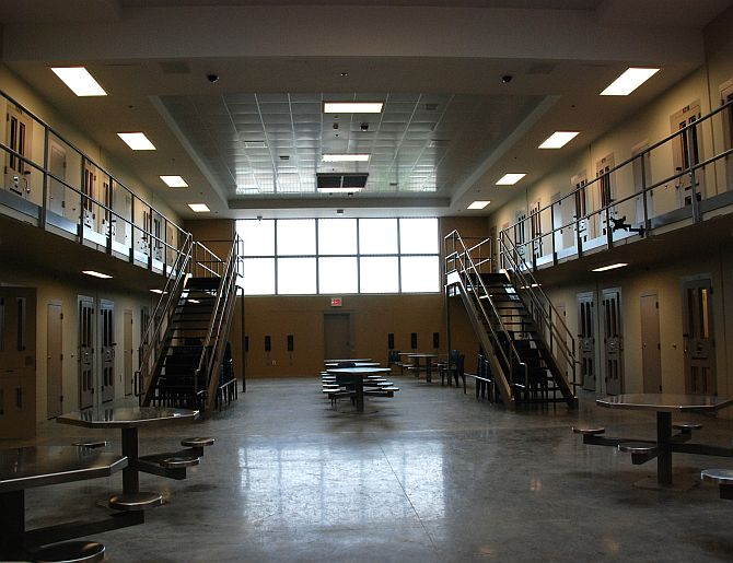 A common area of a cell block for those in post-trial incarceration