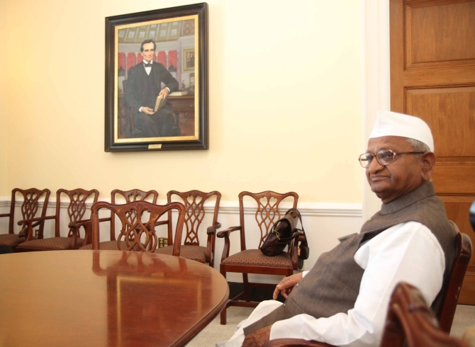 Hazare sits in the office of US House Minority Leader Nancy Pelosi in Capitol Hill