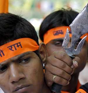 Vishwa Hindu Parishad activists in Ayodhya.