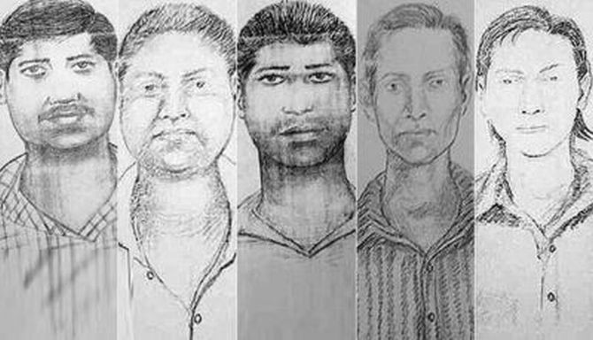 The sketches of the five accused released by Mumbai Police on Friday